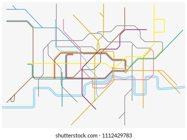 Vector map of London Underground,Overground,DLR, and Crossrail