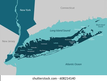 Vector map of Long Island - a region within the US state of New York