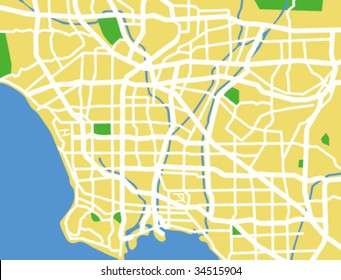 vector map of Los Angeles.