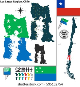 Vector map of Los Lagos region and location on Chilean map