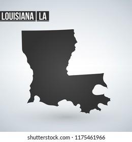 Vector map Louisiana. Isolated vector Illustration. Black on White background. EPS 8 Illustration.