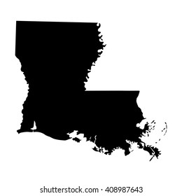 Vector map Louisiana. Isolated vector Illustration. Black on White background. EPS 8 Illustration.