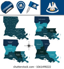 Vector map of Louisiana with named regions and travel icons