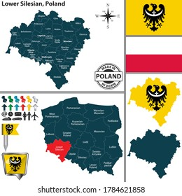 Vector map of Lower Silesian province and location on Polish map