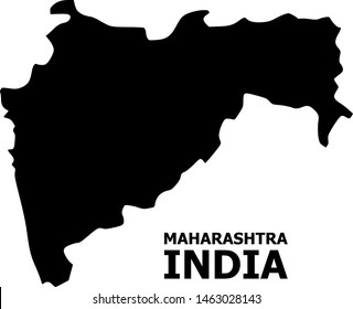 Vector Map of Maharashtra State with name. Map of Maharashtra State is isolated on a white background. Simple flat geographic map.