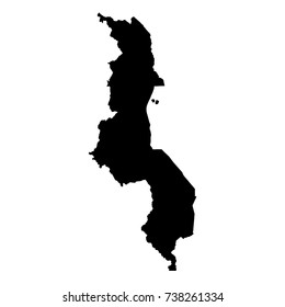 Vector map Malawi. Isolated vector Illustration. Black on White background. EPS 10 Illustration.