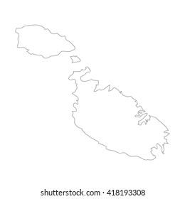Vector map Malta. Outline map. Isolated vector Illustration. Black on White background. EPS 8 Illustration.