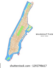 Vector map of Manhattan, New York, USA. Various colors for streets, parks, water and border.