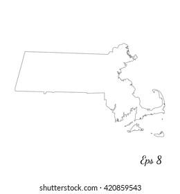 Vector map Massachusetts. Outline map. Isolated vector Illustration. Black on White background. EPS 8 Illustration.