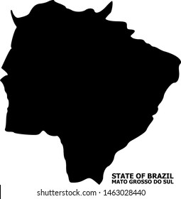 Vector Map of Mato Grosso do Sul State with name. Map of Mato Grosso do Sul State is isolated on a white background. Simple flat geographic map.