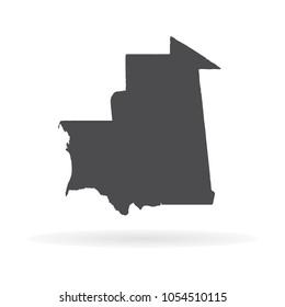 Vector map Mauritania. Isolated vector Illustration. Black on White background. EPS 10 Illustration.