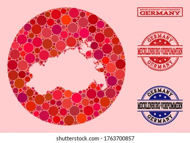 Vector map of Mecklenburg-Vorpommern State collage of circle dots and red watermark seal. Subtraction circle map of Mecklenburg-Vorpommern State collage created with circles in variable sizes,