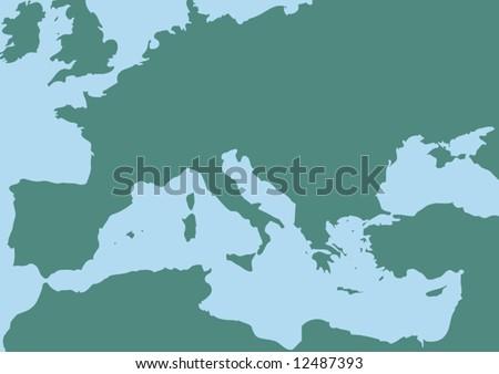 Vector Map Mediterranean Sea Stock Vector (Royalty Free) 12487393 ...