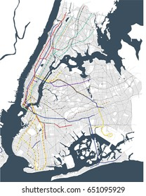 vector map metro of the New York City NY , USA