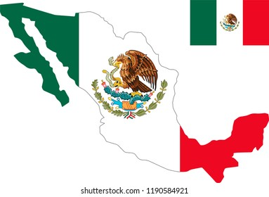 Vector map of Mexico with flag. Isolated, white background