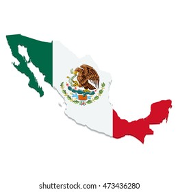 Vector map of Mexico with flag on white background