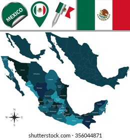 Vector map of Mexico with named divisions and travel icons