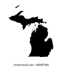 Vector map Michigan. Isolated vector Illustration. Black on White background. EPS 8 Illustration.