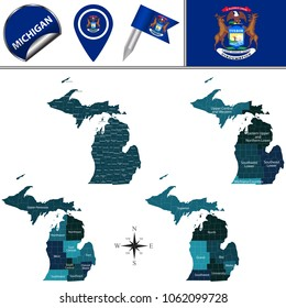 Vector map of Michigan with named regions and travel icons