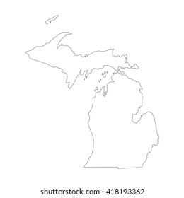 Vector map Michigan. Outline map. Isolated vector Illustration. Black on White background. EPS 8 Illustration.