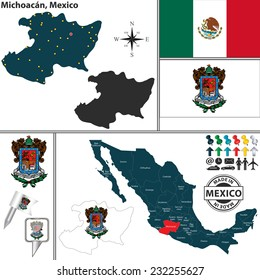 Vector map of Michoacan with coat of arms and location on Mexico map