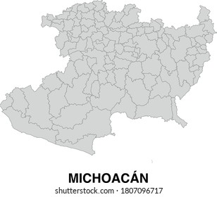 Vector Map of Michoacan Mexico Divided Into Municipalities