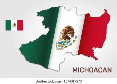 Vector map of Michoacan state combined with waving Mexican national flag - Vector