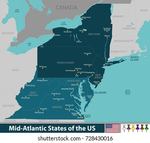 Vector map of Mid Atlantic states of the United States with neighboring states