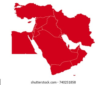 Vector map of Middle East