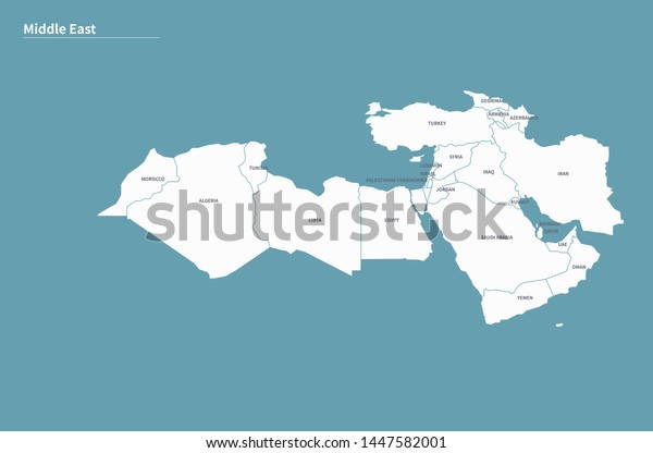 Vector Map Middle East Countries Stock Vector (Royalty Free