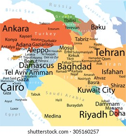 Vector map of Middle East with largest cities. Carefully scaled text by city population. Geographically correct.