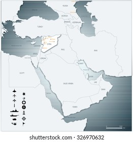 Vector Map of Middle East Syria with War Legend 3D Illustration EPS10