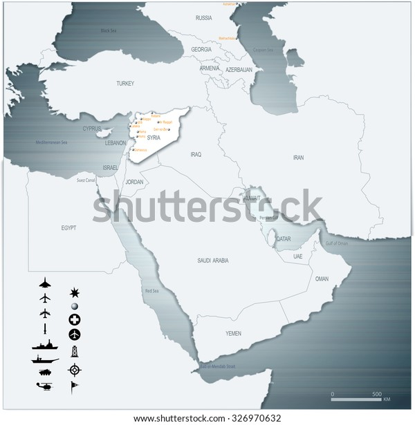 Vector Map Middle East Syria War Stock Vector (Royalty Free ...