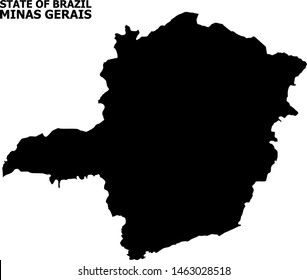 Vector Map of Minas Gerais State with title. Map of Minas Gerais State is isolated on a white background. Simple flat geographic map.