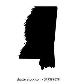Vector map Mississippi. Isolated vector Illustration. Black on White background. EPS Illustration.