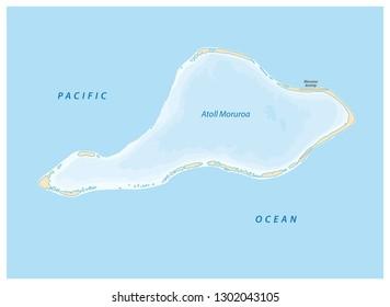 vector map of Moruroa (Mururoa, Mururura) atoll, which belongs to French Polynesia