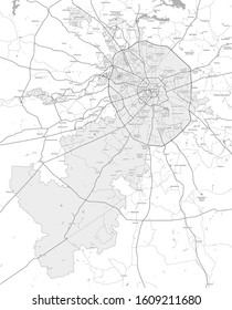 Vector map of Moscow and Moscow region. Black and white.