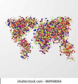 Vector map mustache with confetti on white background