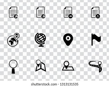 vector map, navigation, road and gps icons set - travel sign symbols. search destination and find map location