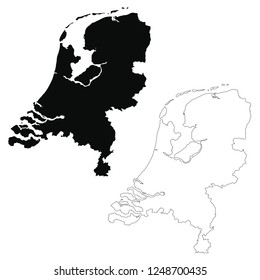 Vector map Netherlands. Isolated vector Illustration. Outline and vector. Black on White background. EPS 10 Illustration.