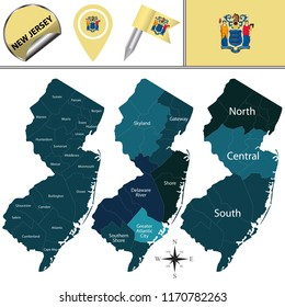 Vector map of New Jersey with named regions and travel icons