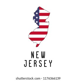 Vector map of New Jersey painted in the colors American flag. Silhouette or borders of USA state. Isolated vector illustration