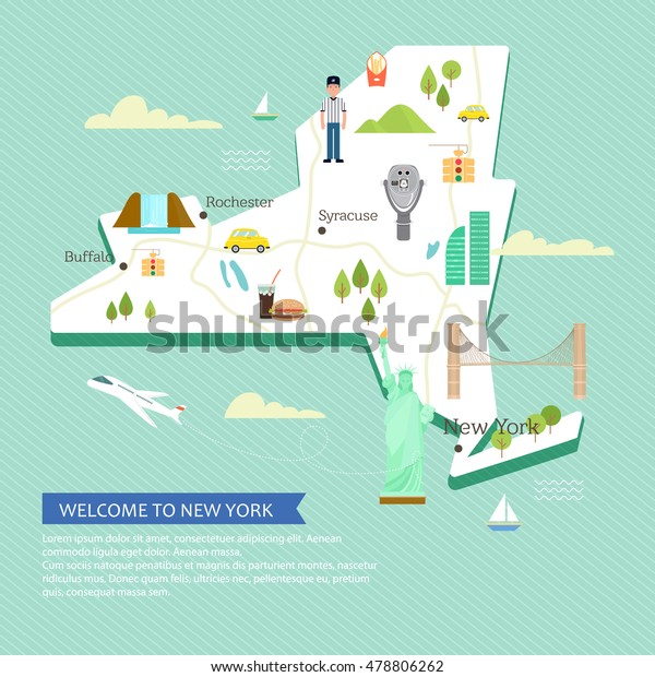 Map Of New York With Landmarks.Vector Map New York Attractions Landmarks Stock Vector Royalty Free