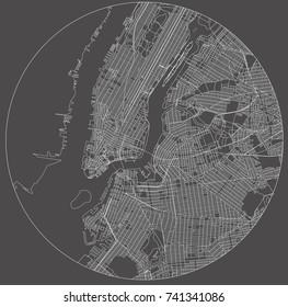 vector map of the New York City NY Manhattan, USA