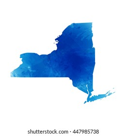 Vector map New York. Isolated vector Illustration. Watercolor effect. EPS 10 Illustration.