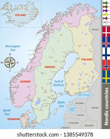 Vector map of Nordic countries with big cities and flags
