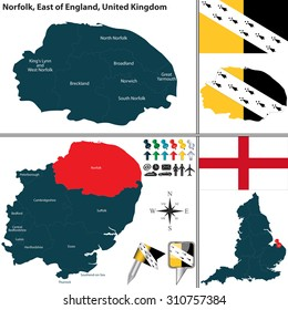Vector map of Norfolk in East of England, United Kingdom with regions and flags