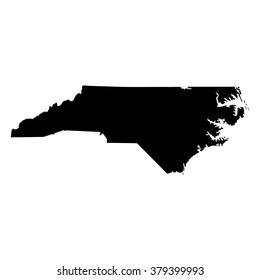Vector map North Carolina. Isolated vector Illustration. Black on White background. EPS Illustration.