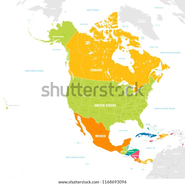 Vector Map North Central America Continent Stock Vector Royalty