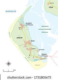 vector map of the North Frisian island of Amrum in German language